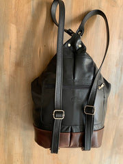 """Pinelopi"" - midsize backpack handcrafted from soft black leather with brown details WT/65M"