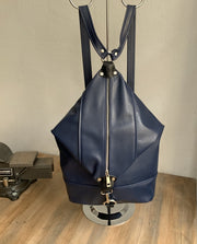 """Pinelopi"" - midsize backpack handcrafted from soft blue leather WT/65MP"