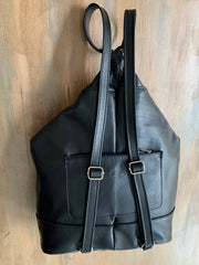 """Kriti"" - bigsize backpack handcrafted from soft black leather WT/65GFM"
