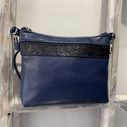 """Athina"" - small classic bag handcrafted from soft blue leather with light brown snake details WT/445MP"