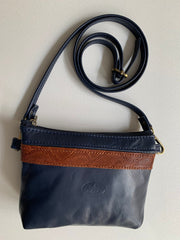"""Athina"" - small classic bag handcrafted from soft blue leather with light brown flower details WT/445MP"