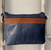 """Athina"" - small classic bag handcrafted from soft blue leather with light brown croco details WT/445MP"