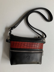 """Athina"" - small classic bag handcrafted from soft black leather with red croco details WT/445M"
