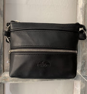 """Athina"" - small classic bag handcrafted from soft black leather with silver zipper WT/445M"