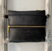 """Athina"" - small classic bag handcrafted from soft black leather with red flower details WT/445M"