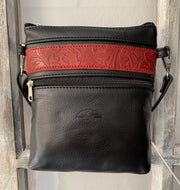 """Afroditi"" - small crossbody bag handcrafted from soft black leather with red croco details WT/389M"