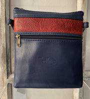 """Afroditi"" - small crossbody bag handcrafted from soft blue leather with snake details WT/389MP"
