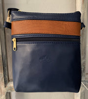 """Afroditi"" - small crossbody bag handcrafted from soft blue leather with light brown snake details WT/389MP"
