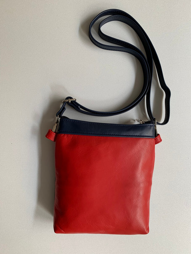"""Afroditi"" - small crossbody bag handcrafted from soft blue leather with red details WT/389MPR"