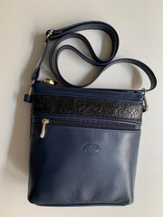 """Alkmini"" - Midsize crossbody bag handcrafted from soft blue leather with snake details WT/388MP"