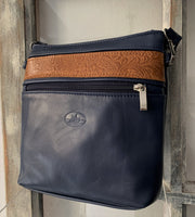 """Alkmini"" - Midsize crossbody bag handcrafted from soft blue leather with light brown flower details WT/388MP"