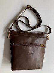 """Alkmini"" - Midsize crossbody bag handcrafted from soft brown leather with snake design WT/388K"