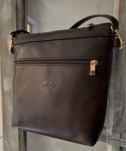 """Alkmini"" - Midsize crossbody bag handcrafted from soft brown leather WT/388K"