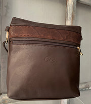 """Alkmini"" - Midsize crossbody bag handcrafted from soft brown leather with flower design WT/388K"