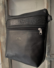 """Alkmini"" - Midsize crossbody bag handcrafted from soft black leather with light brown croco design WT/388M"