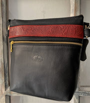 """Alkmini"" - Midsize crossbody bag handcrafted from soft black leather with flower design WT/388M"