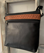 """Ariadni"" - Midsize crossbody bag handcrafted from soft black leather with light brown flower design WT/77M"