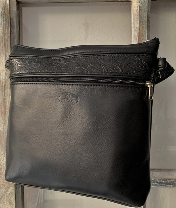 """Ariadni"" - Midsize crossbody bag handcrafted from soft black leather WT/77M"