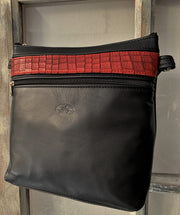 """Ariadni"" - Midsize crossbody bag handcrafted from soft black leather with red flower design WT/77M"
