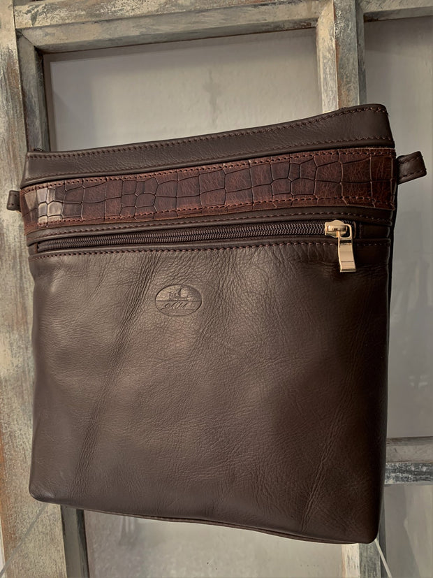 """Ariadni"" - Midsize crossbody bag handcrafted from soft brown leather WT/77K"