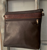 """Ariadni"" - Midsize crossbody bag handcrafted from soft brown leather with flower design WT/77K"