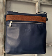 """Ariadni"" - Midsize crossbody bag handcrafted from soft blue leather with light brown flower design WT/77MP"