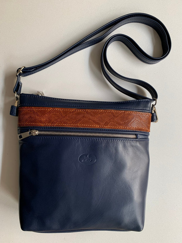 """Ariadni"" - Midsize crossbody bag handcrafted from soft blue leather with croco design WT/77MP"