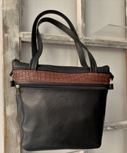 """Alkisti"" - Bigsize crossbody bag handcrafted from soft black leather with red flower design WT/79M"