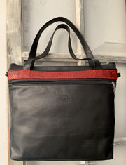 """Iokasti"" - Bigsize crossbody bag handcrafted from soft black leather with red croco design WT/79GM"