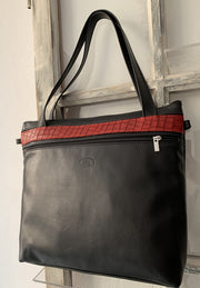 """Iokasti"" - Bigsize crossbody bag handcrafted from soft black leather with snake design WT/79GFM"