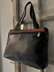 """Iokasti"" - Bigsize crossbody bag handcrafted from soft black leather with flower design WT/79GFM"