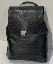 Elpiniki - soft black leather backpack with bordo croco design WT/TYM