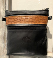 """Alkmini"" - Midsize crossbody bag handcrafted from soft black leather with red croco design WT/388M"