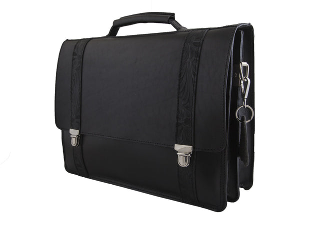 """Periklis"" - A3 Briefcase handcrafted from  natural black leather with flower details WT/44A3"