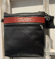 """Alkmini"" - Midsize crossbody bag handcrafted from soft black leather with red flower design WT/388M"