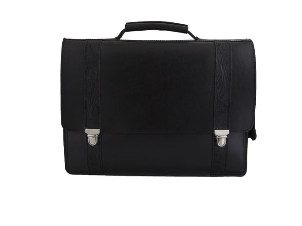 """Patroklos"" A4 briefcase handcrafted from natural black leather with flower design WT/45A4ML"