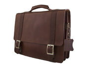 """Patroklos"" A4 briefcase handcrafted from natural brown leather with relief design WT/45A4"