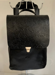 Elpiniki - soft black leather backpack with flower design WT/TYM