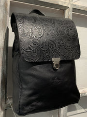 Elpiniki - soft black leather backpack with red flower design WT/TYM