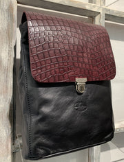 Elpiniki - soft black leather backpack with brown croco design WT/TYM