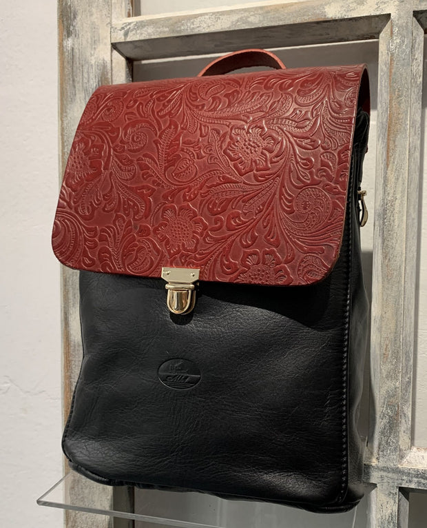 Elpiniki - soft black leather backpack with bordo snake design WT/TYM