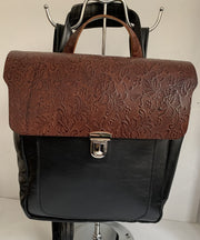 Elektra - soft black leather backpack with brown flower design WT/283M