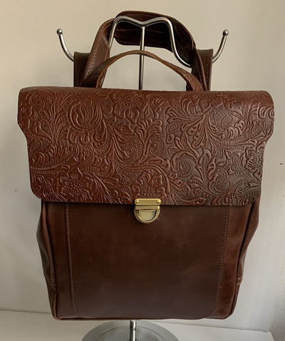 Elektra - Pullup brown leather backpack with flower design WT/283K