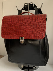 Iro - soft black leather backpack with red croco design WT/283GM