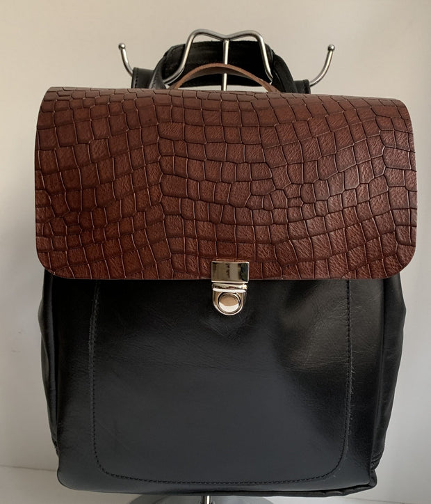 Iro - soft black leather backpack with brown croco design WT/283GM