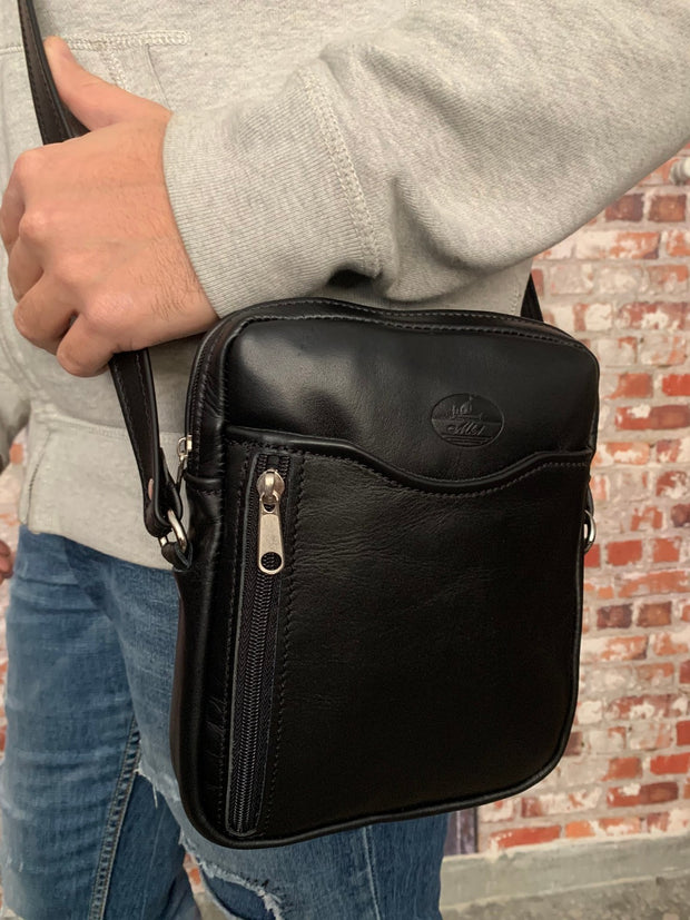 """Achilleas"" - small men's crossbody bag handcrafted from soft black leather WT/AN1M"