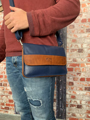 """Iakinthos"" - small crossbody bag handcrafted from soft blue leather with light brown details WT/52FMP"