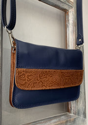 """Iakinthos"" - small crossbody bag handcrafted from soft blue leather with light brown flower details WT/52FMPL"