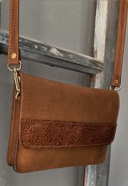 """Iakinthos"" - small crossbody bag handcrafted from natural light brown leather with flower design WT/52FLK"