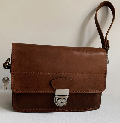 """Sokratis"" - small crossbody bag handcrafted from natural brown leather with oval lock WT/55K"